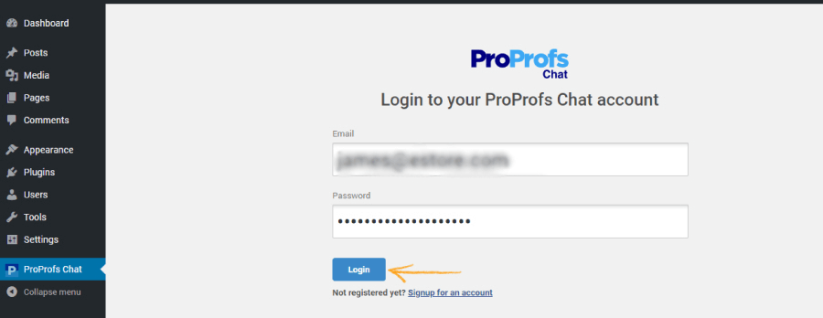 Add your ProProfs Chat login credentials to WordPress