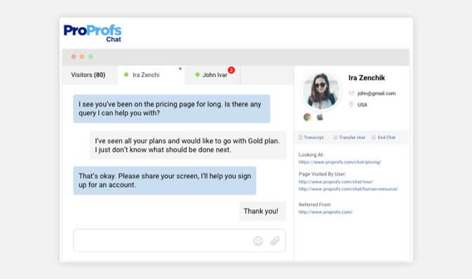 Live chat visitor monitoring