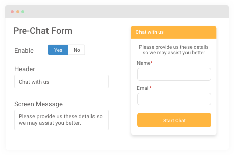 pre-chat form